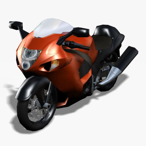 3ds max hayabusa motorcycle rigged