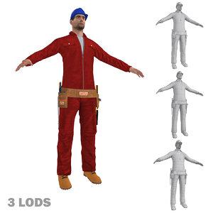 worker lods man 3d model