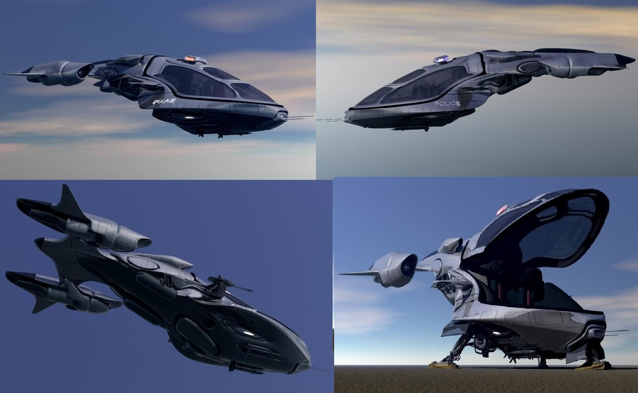 3d scifi vehicles flying model