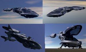3d scifi vehicles flying model