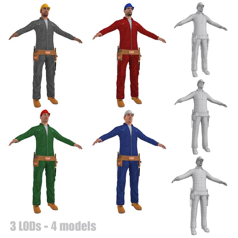3d model pack worker lods man