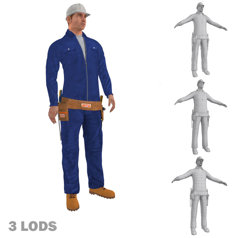 rigged worker lods biped man 3d max