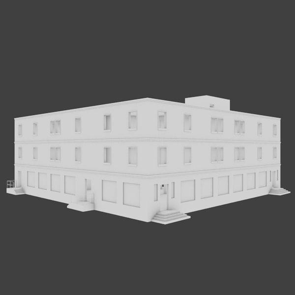 building shops restaurant 3d obj