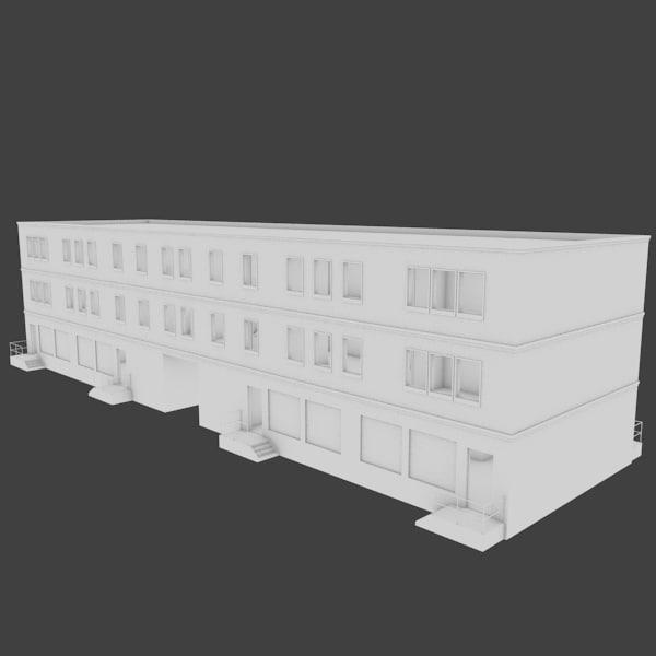 apartment building 3d obj