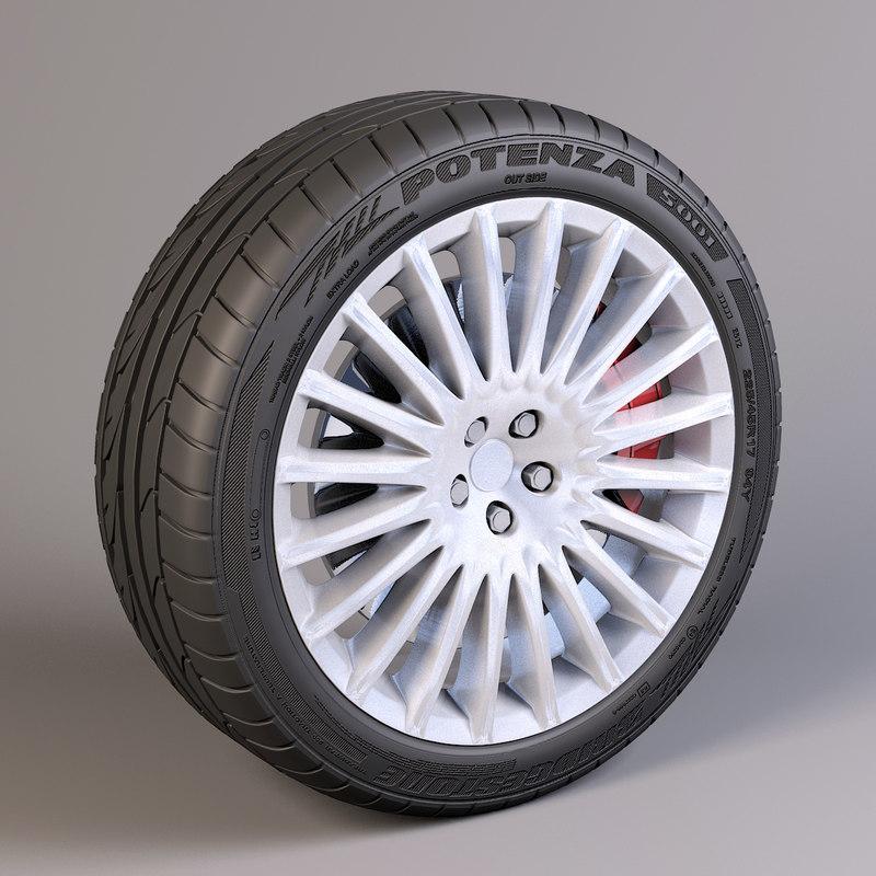 3d model 20 spokes wheel bridgestone potenza
