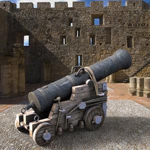british naval cannon 3d obj