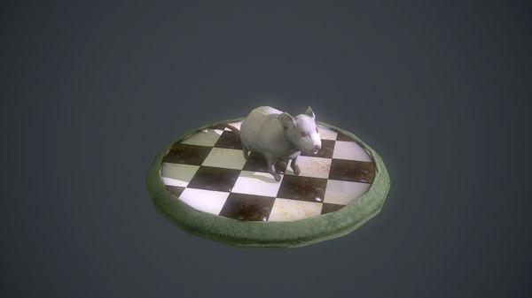 3d model white mouse