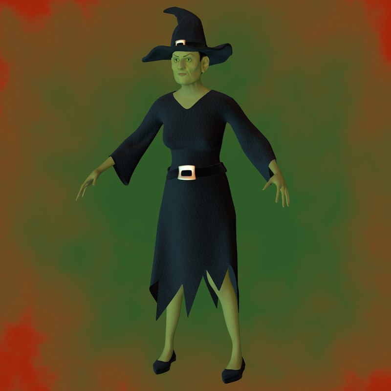 3d female character witch model