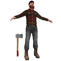 3d lumberjack man model