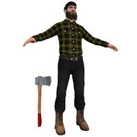3d model lumberjack man