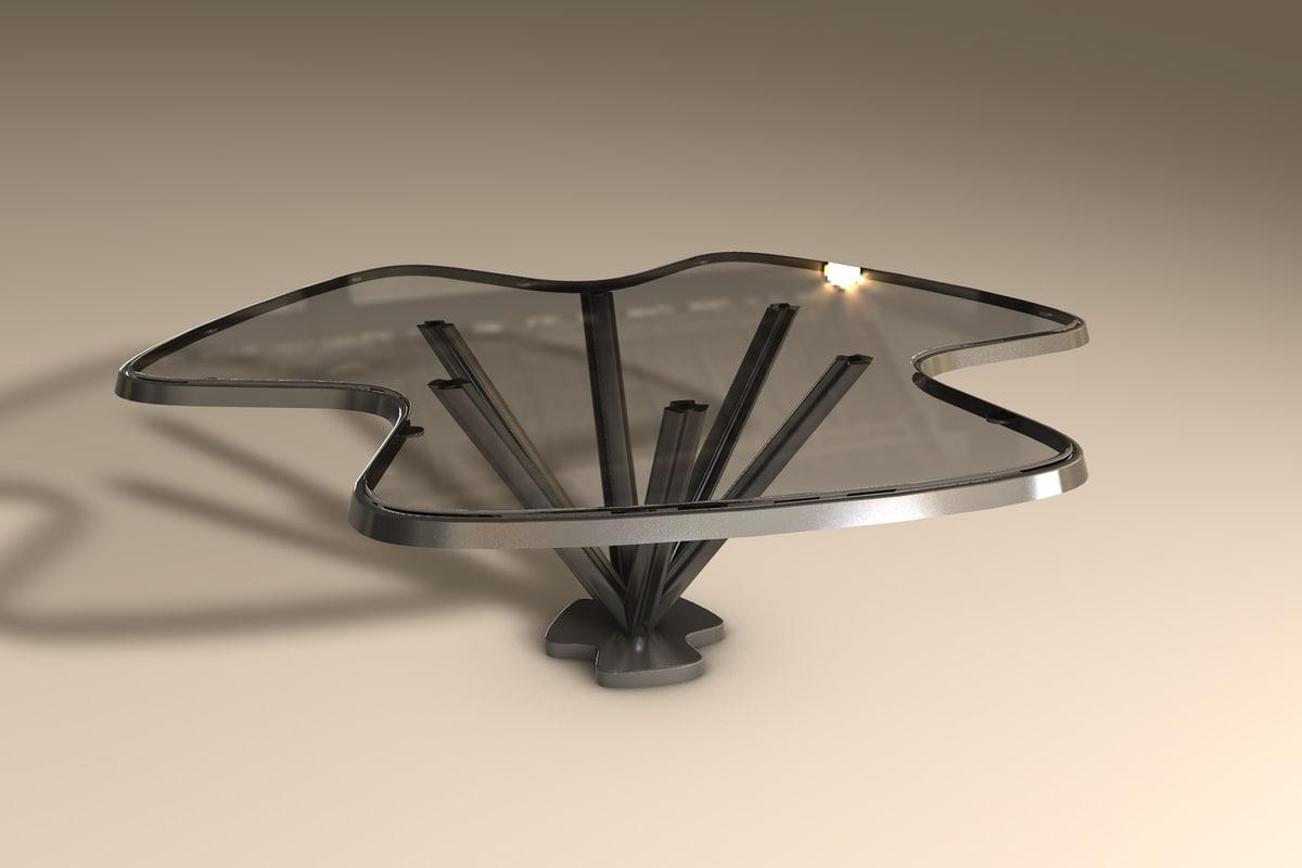 glass metal table 3d fbx