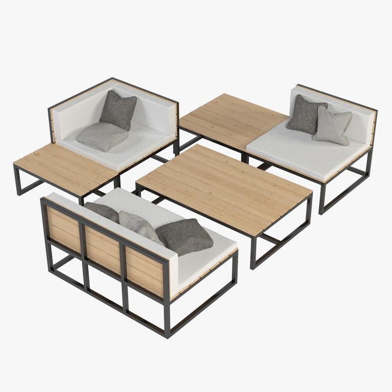 lounge furniture 3d fbx