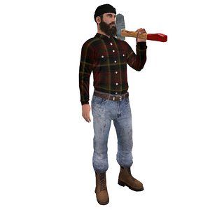 rigged lumberjack man 3d model