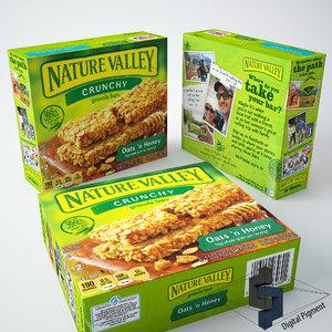 nature valley granola box 3d model