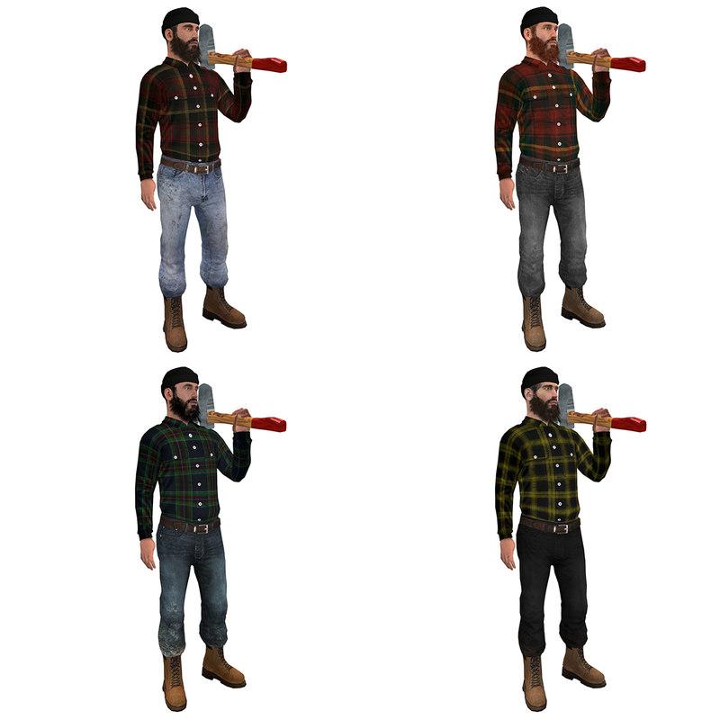 3d model pack rigged lumberjack man