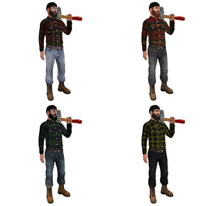 3d model pack rigged lumberjack man