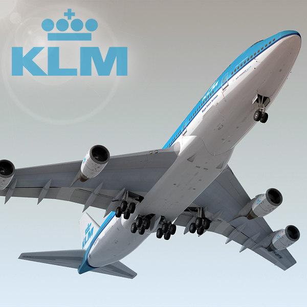 boeing 747-400 plane klm obj