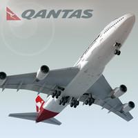 3ds max boeing 747-400 plane qantas