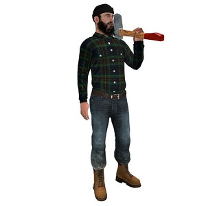 rigged lumberjack man 3d model