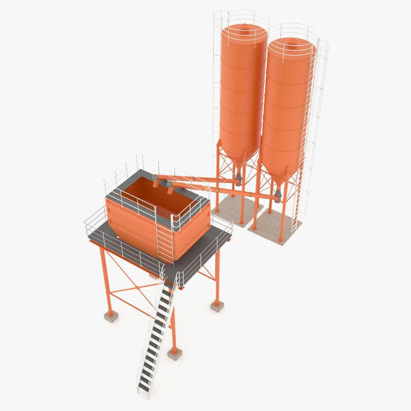 3d silos hopper cement