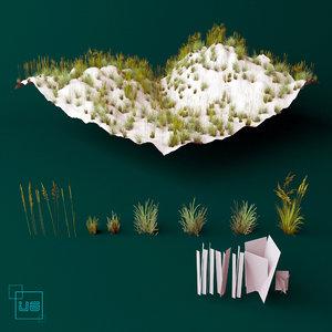 grass plant flower 3d max