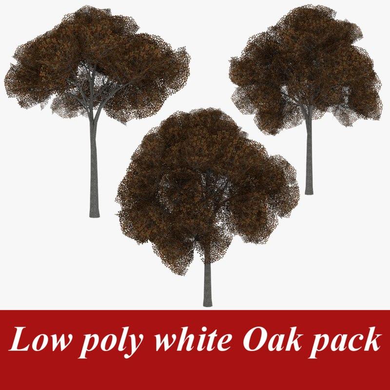 3d model pack white oak tree