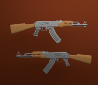 3d model ak 47 metal grip