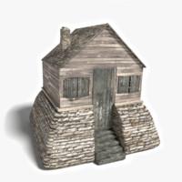 medieval cabin 3d obj