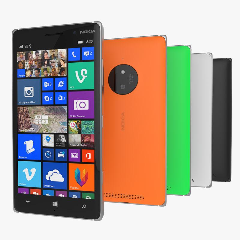 3d new nokia lumia 830 model