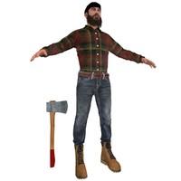 canadian lumberjack man 3d model