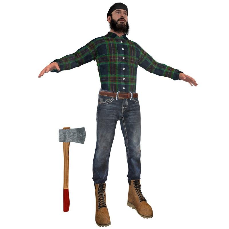 canadian lumberjack man 3d max