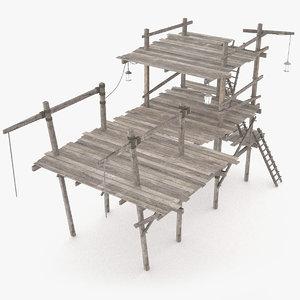 wooden scaffolding 3d 3ds