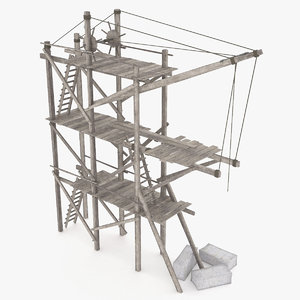 wooden scaffolding 3ds