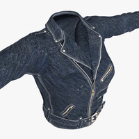 3ds max female jacket blue leather