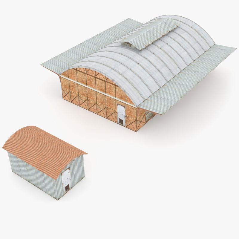 3d industrial railway buildings model