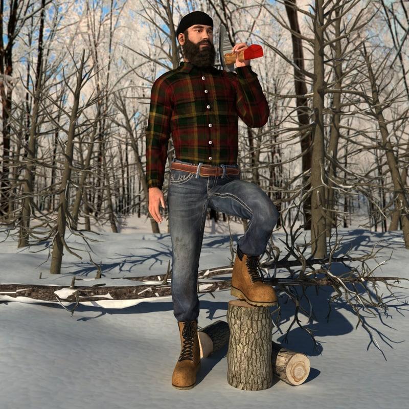 3d model rigged canadian lumberjack man