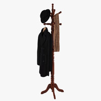 Rack With Coat On Hanger, Hat and Scarf