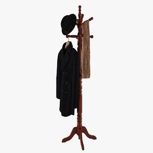rack coat hat scarf 3d model