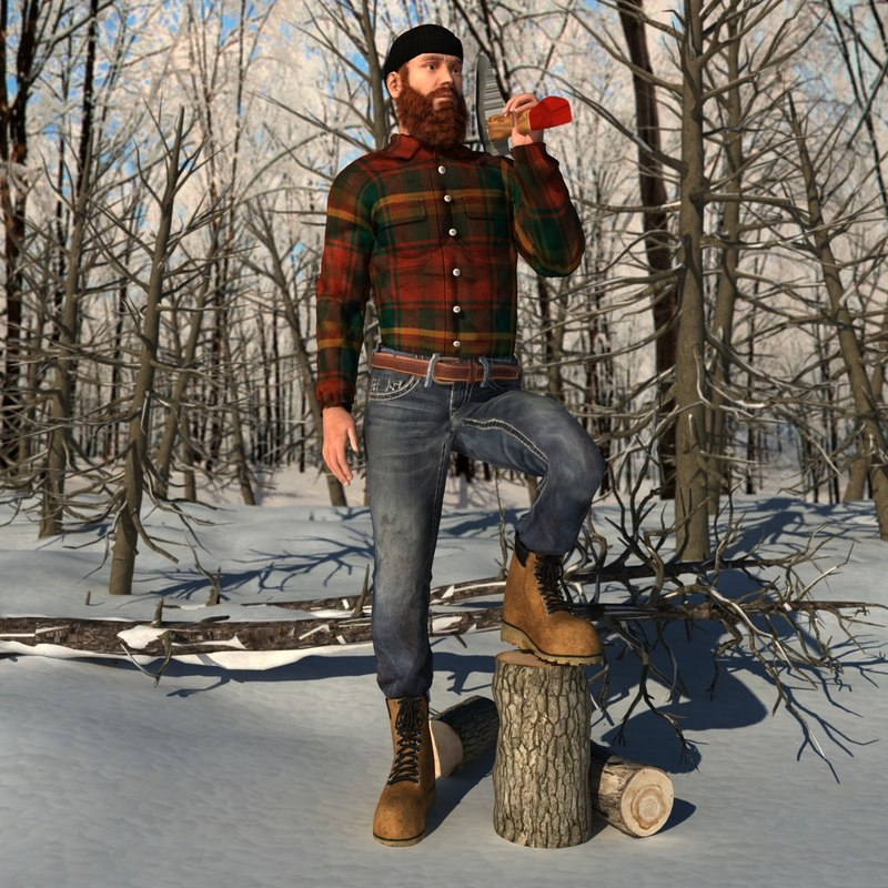 rigged canadian lumberjack 2 3d model