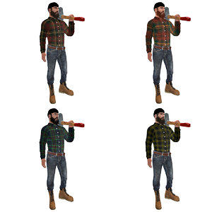 3d rigged canadian lumberjack man model