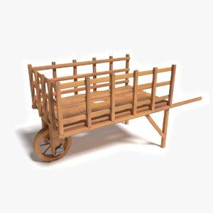 3d old wooden wheelbarrow model