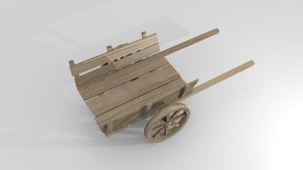 obj wooden cart
