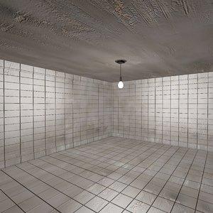 dirty tiled room 2 3d model