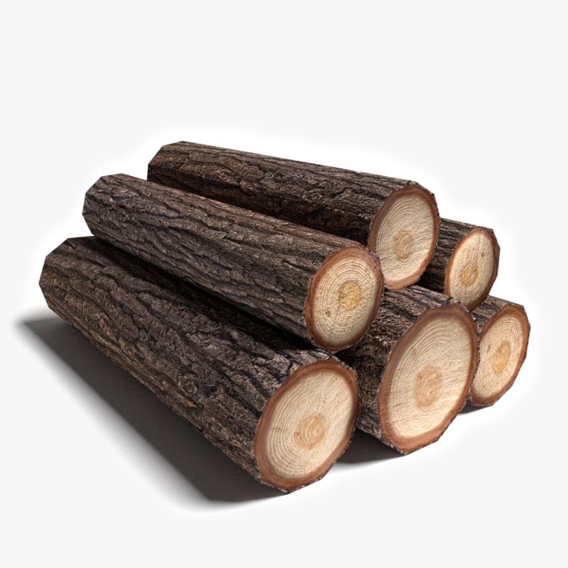 Log Fire Wood ~ D model wood logs