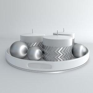 candles metal balls 3ds