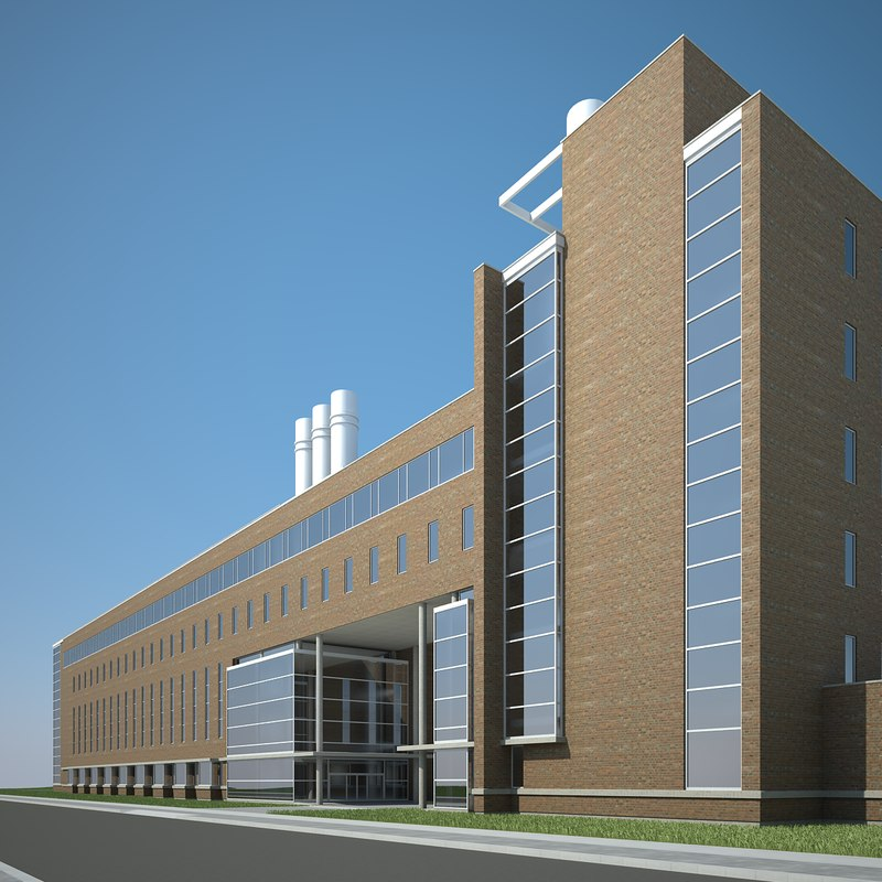modern office industrial building 3d max