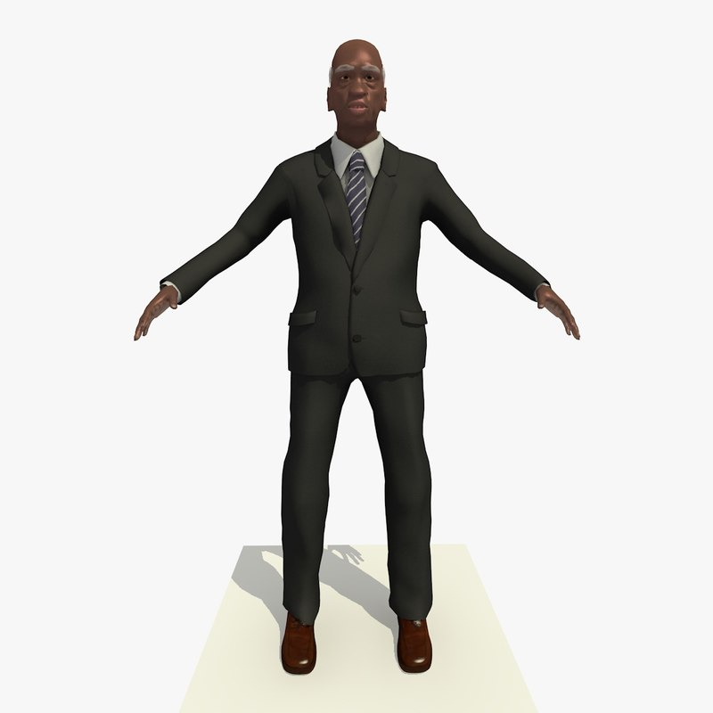 3d old african male man model