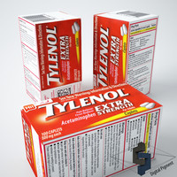 3d tylenol extra strength box