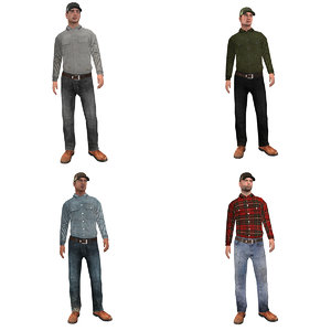 3d model pack rigged worker