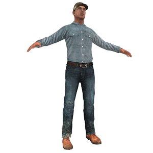 3d farm worker model
